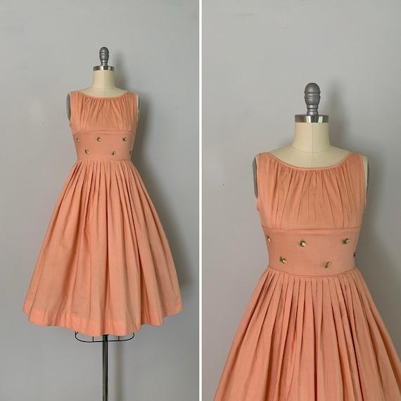 1960s Sundress / 60s Peach Cotton Fitted Waist Sun