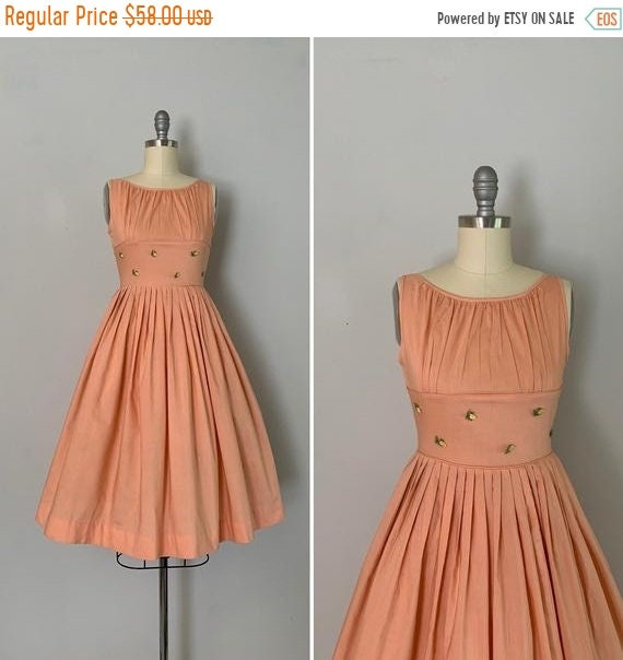 Clearance 1960s Sundress / 60s Peach Cotton Fitted