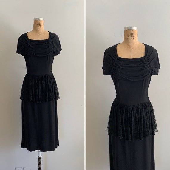 1947 Youth Guild Crepe Rayon and Lace Peplum Dress