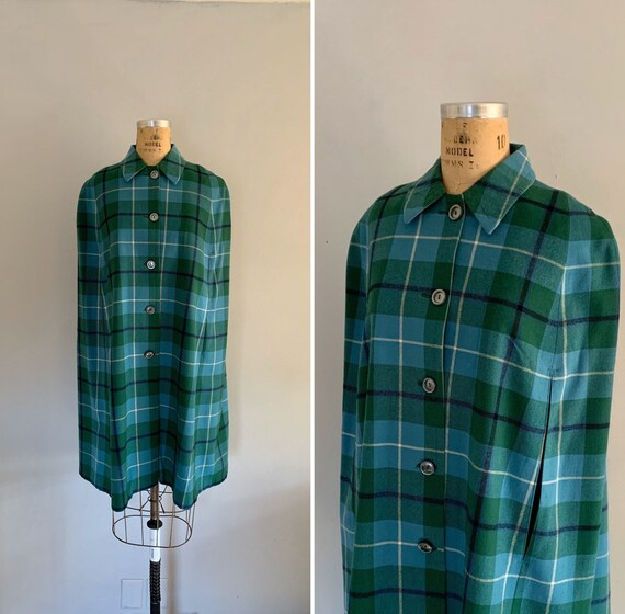 Vintage Plaid Cape / 1970s Shades of Blue and Gree