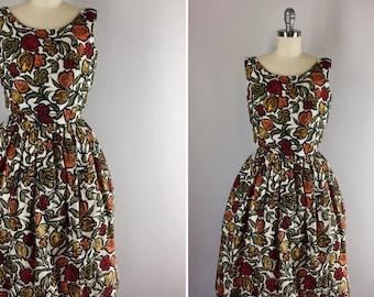 1960s Dress / 60s Print Dress / Fond of Fall Dress