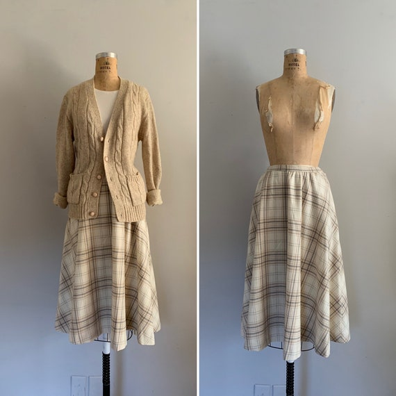 1970s Bias Cut Windowpane Plaid Wool Full Skirt /