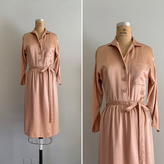 1970s Peach Quartz Charmeuse Wrap Dress / 70s Liqu