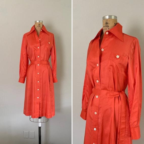 Vintage 1970s Silk Shirtdress / 70s Coral Silk But