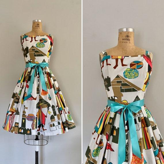 1960s Novelty Print Cotton Sundress / Vintage 1950