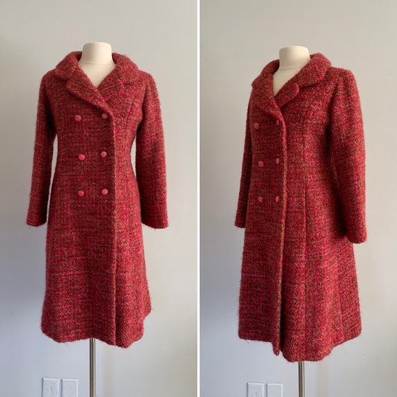 1960s Hot Pink and Green Wool Boucle Coat