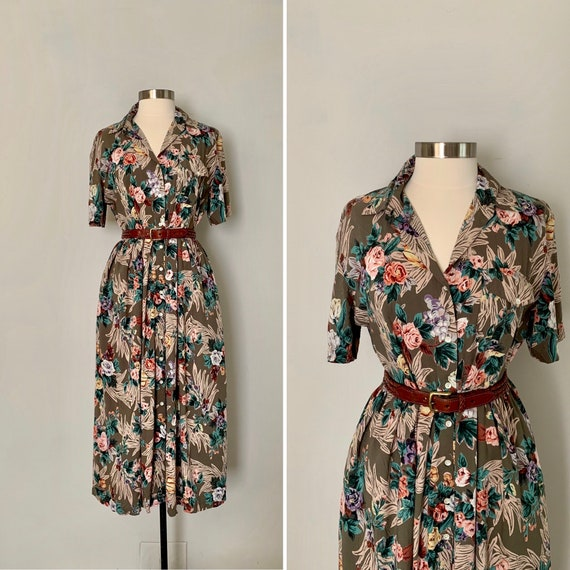 1990s Floral Shirtdress / 90s Button Front Floral