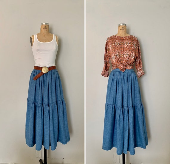 1990s Denim Prairie Maxi Skirt / 80s/90s Full Cut