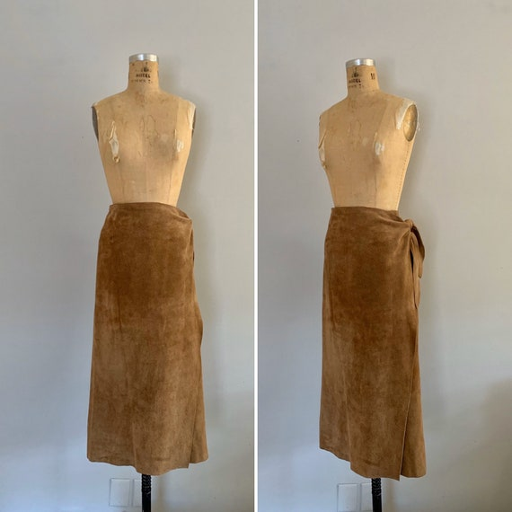 Vintage 1980s Ralph Lauren Suede Wrap Skirt