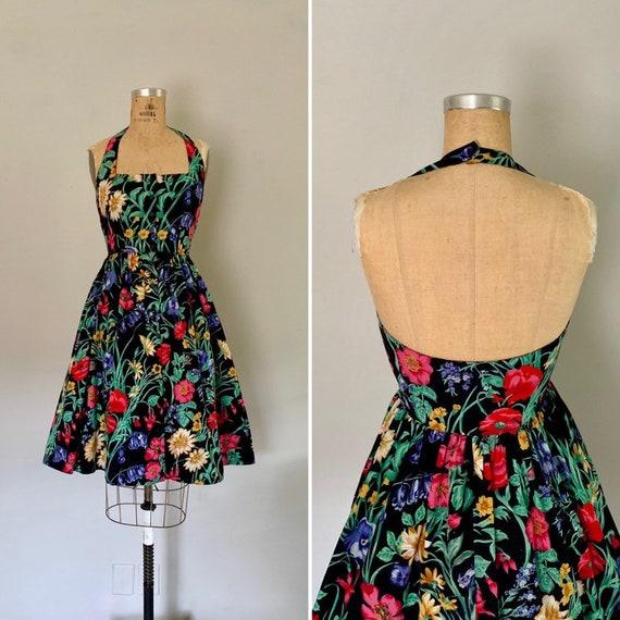 Vintage 1980s Dress / 80s Floral Halter Dress / 19