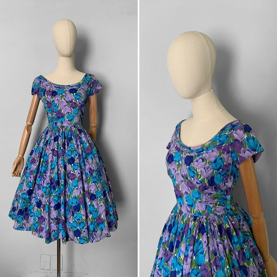 1950s Jerry Gilden tulip print cotton dress / 50s