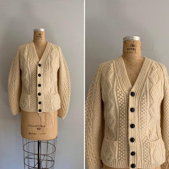1970s Fisherman Cardigan / Irish Knit Sweater