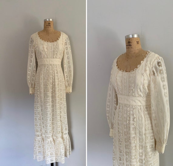 1970s Harmay Lace Prairie Dress / 70s Lace Prarie