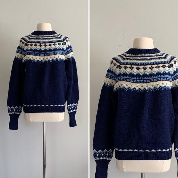 1970s Hand Knit in Denmark Fair Isle Pullover Swea