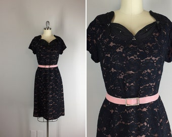 1950s Vintage Lace Dress with Origami Collar / 50s Black Lace Party Dress