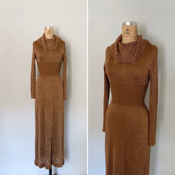 Vintage 1970s Wenjilli Metallic Maxi Dress / 70s S