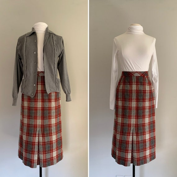 1950s Koret of California Plaid Pencil Skirt