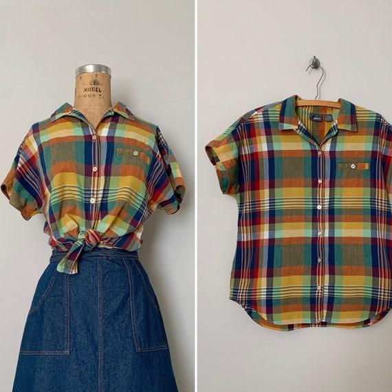 1980s Cotton Madras Plaid Camp Shirt / 80s Oversiz