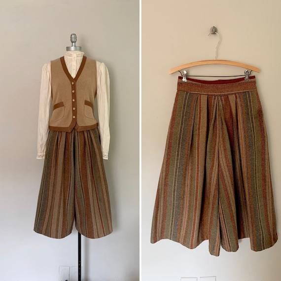 1970s Gaucho Pants / 70s Striped Gaucho Trousers