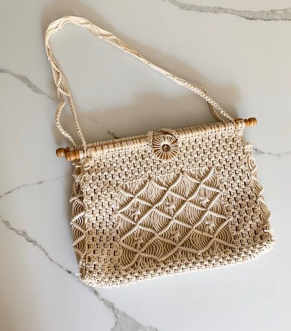 1970s Macrame Bag/ Vintage 70s Macrame Bag