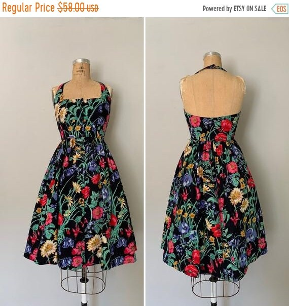 Clearance Vintage 1980s Dress / 80s Floral Halter