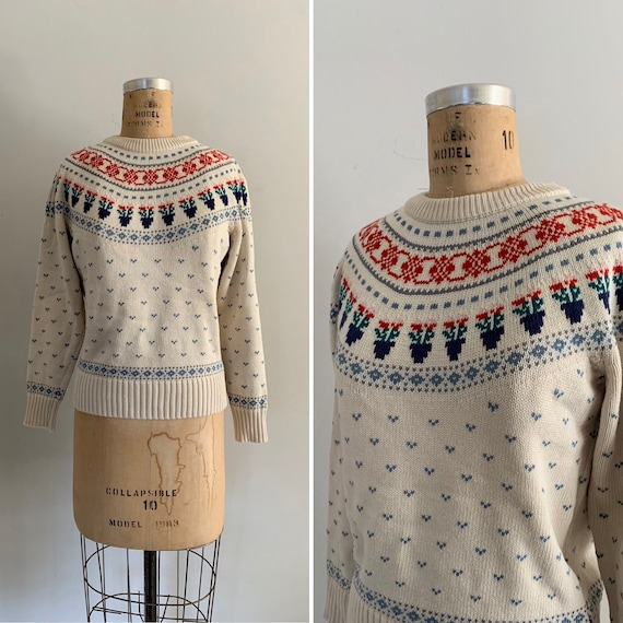 1980s Cotton Floral Fair Isle Sweater/ 1988 Eddie
