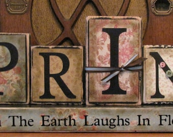 Spring Sign Blocks - When the Earth Laughs In Flowers