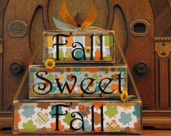 Fall Decor, Fall Sign, Fall Decoration, Thanksgiving Decor, Thanksgiving Sign- Fall Sweet Fall  Word Blocks Sign