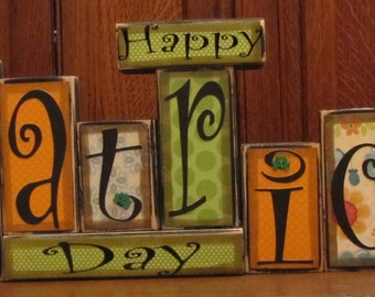 St. Patrick's Day Decor, St. Patrick's Day Sign, Happy St. Patrick's Day Word Blocks, Irish Decor, St. Patrick's Day Decorations ,