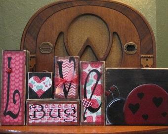 Valentines Day Decor - Valentine Word Blocks - Valentines Sign - Love Bug