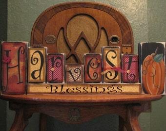 Fall Sign, Fall Decor, Fall Decoration, Thanksgiving Decor, Thanksgiving Sign, Harvest Blessing Blocks,