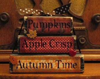 "Pumpkins, Apple Crisp, Autumn Time Stacker Fall Sign, Fall Decor, 4.5"" tall x 5.5"" wide, Tiered Tray Decor"