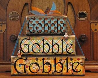 Thanksgiving Decor, Thanksgiving Decoration, Thanksgiving Sign, Fall Decor, Fall Decoration,  Gobble, Gobble, Gobble Word Blocks Sign