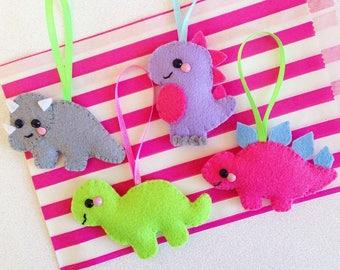 Felt Dinosaur Tree Decorations, kitsch hanging decoration, colourful festive decor, cute dinosaur decoration, dino christmas tree ornaments