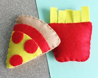Fast Food Cat Toy, handmade felt cat toy, organic catnip, vegan pet toys, gifts for cats, eco friendly felt, fries cat toy, pizza cat gift