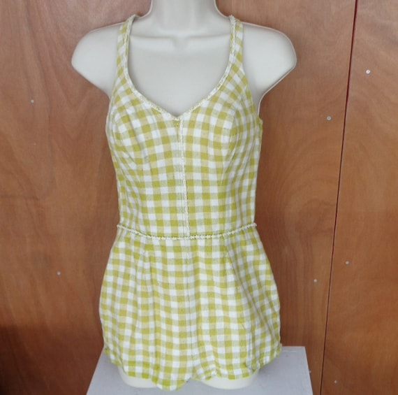 Vintage Catalina Green and White Gingham Check Swi