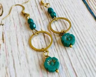 Boho Modern Hibiscus Flower Beaded Brass Earrings, Brass Earrings, Flower Earrings, Boho, Minimalist