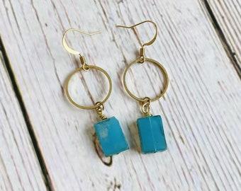 Aqua Glass Window Drop Earrings