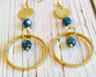 Boho Modern Beaded Brass Dangle Earrings, Capri Blue Beaded Earrings, Brass Earrings, Geometric Modern Earrings
