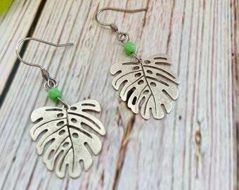 Silver Monstera Leaf Earrings, Turquoise Earrings, Boho Earrings