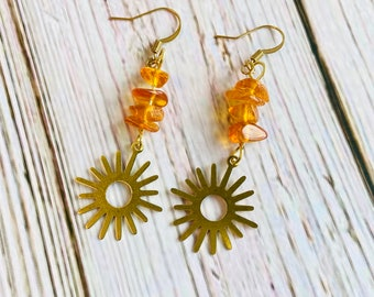Brass Sunburst Accented with Genuine Amber Drop Earrings, Boho Earrings, Brass Earrings, Amber Earrings
