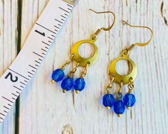Boho Brass Beaded Chandelier Earrings Available in 3 Colors, Beaded Earrings, Boho Earrings