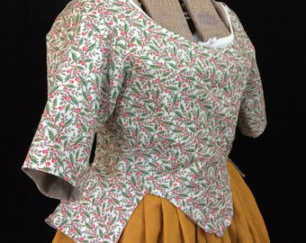 Caraco Jacket in Williamsburg Cotton for a common woman, 18th century, size 18
