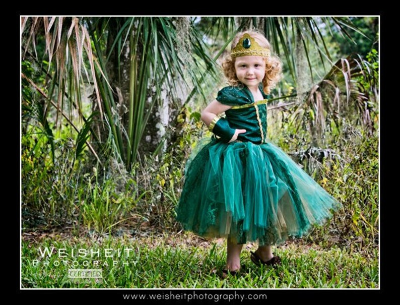 BRAVE LITTLE PRINCESS Merida Inspired Corset Top and Tutu Set with Wrist Cuffs and Tiara