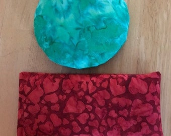 New!  4th Chakra set:  Listen to Your Heart eye pillow with prehnite and rhodonite and 4th Chakra round pillow with rose quartz.