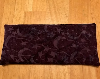 DreamTime Gemstone Eye Pillow with Stones of Clear Quartz, Moonstone and Rhodonite.