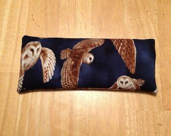 Owl Animal Spirit Eye Pillow with LabradoriteTiger's Eye and Leopardskin Jasper Gemstones