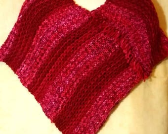 Knitted Poncho in Shades of Red Handmade in USA