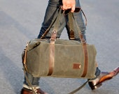 NO. 495 Men's Duffle Bag in Military Green Waxed Canvas, Convertible Personalized Weekender Bag, Gym, Carry-On Overnight Bag Made in the USA