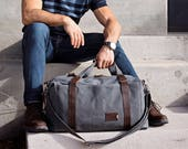 Mens Weekender Bag, Personalized Convertible Duffle Bag in Waxed Canvas, Monogrammed Carry On Bag, Graduation Gift, Made in USA - NO. 495
